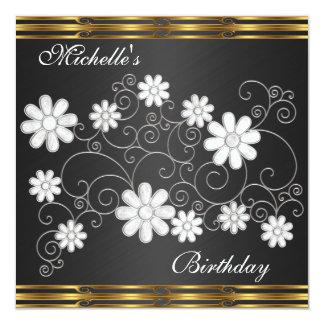 """Invitation Birthday Black & White Floral Gold Trim 5.25"""" Square Invitation Card"""
