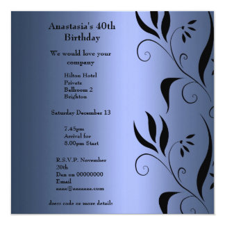 Invitation Birthday Blue with Black Floral