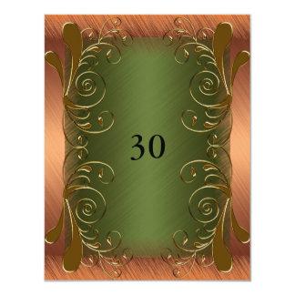 "Invitation Birthday Dark Green & Rust Gold Floral 4.25"" X 5.5"" Invitation Card"