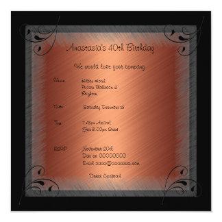 "Invitation Birthday Glamour Rust Black Floral 5.25"" Square Invitation Card"
