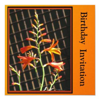 Invitation - Birthday Invitation - Orange Flowers
