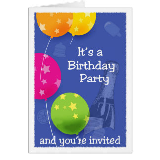 Invitation: Birthday Party, Ballons, Champagne Card
