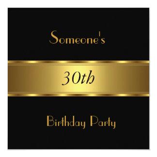 Invitation Birthday Party Black Gold 30th 40th 50