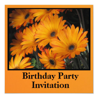 Invitation - Birthday Party - Orange Daisies