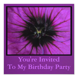 Invitation - Birthday Party - Purple Flower