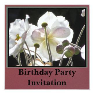 Invitation - Birthday Party - White Flowers