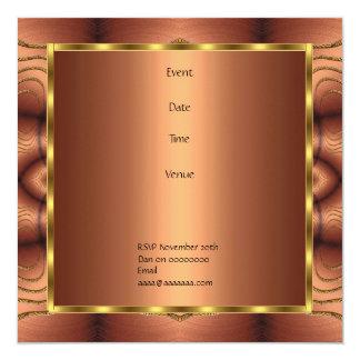 "Invitation Birthday Rust Fabric Twist 5.25"" Square Invitation Card"