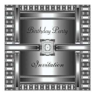 Invitation Birthday Silver Chrome Diamond Jewel Invite