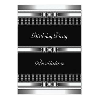 "Invitation Birthday Silver on Black Chrome 5"" X 7"" Invitation Card"