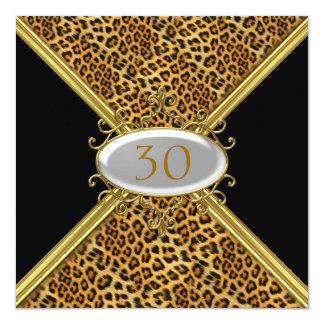 """Invitation Black Leopard skin Birthday Anniversary 5.25"""" Square Invitation Card"""