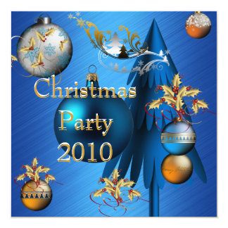 Invitation Christmas Holiday Party Blue Gold Xmas Announcements