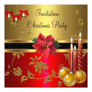 Invitation Christmas Holiday Party Gold  Red Xmas