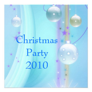 Invitation Christmas Party Blue Silver Announcements