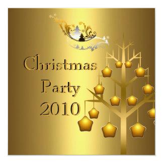 "Invitation Christmas Party Gold Xmas 5.25"" Square Invitation Card"