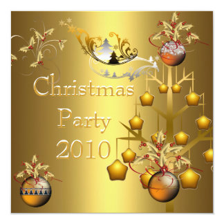 Invitation Christmas Party Gold Xmas