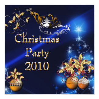 "Invitation Christmas Party Gold Xmas Blue 5.25"" Square Invitation Card"