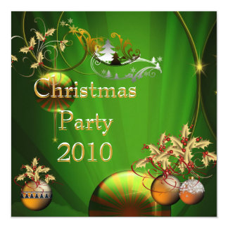 Invitation Christmas Party Gold Xmas Green