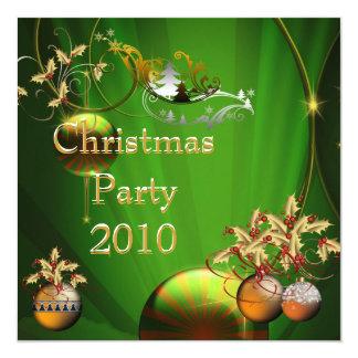 "Invitation Christmas Party Gold Xmas Green 5.25"" Square Invitation Card"