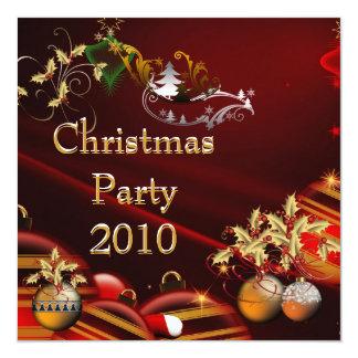 "Invitation Christmas Party Gold Xmas Red 5.25"" Square Invitation Card"