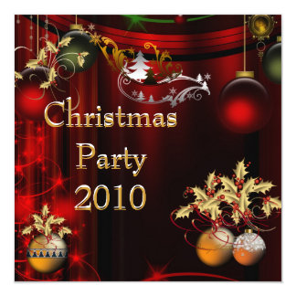 """Invitation Christmas Party Gold Xmas Red Green 5.25"""" Square Invitation Card"""