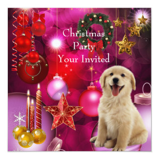 "Invitation Christmas Party Xmas Dog 5.25"" Square Invitation Card"