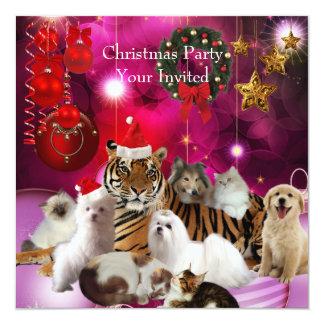 Invitation Christmas Party Xmas Tiger Cats Dogs Custom Invitations