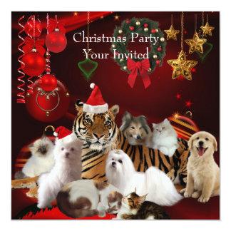 Invitation Christmas Party Xmas Tiger Cats Dogs