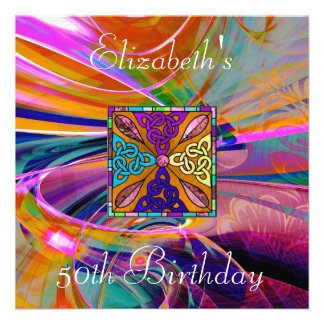 Invitation Coloured Stained Glass Abstract Custom Announcements