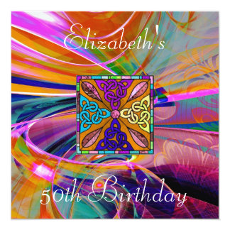 Invitation Coloured Stained Glass Abstract