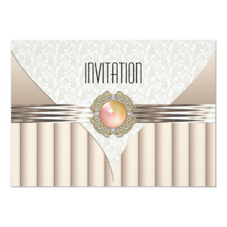 "Invitation Cream Beige Peach Jewel 5"" X 7"" Invitation Card"
