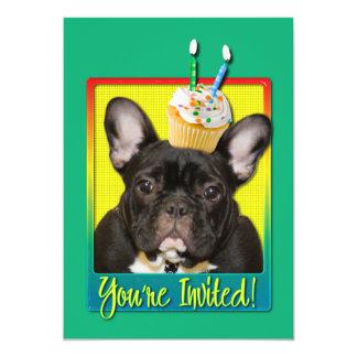 "Invitation Cupcake 2 Year Old - French Bulldog 5"" X 7"" Invitation Card"