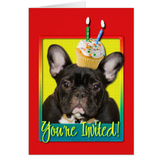 Invitation Cupcake 2 Year Old - French Bulldog Greeting Card