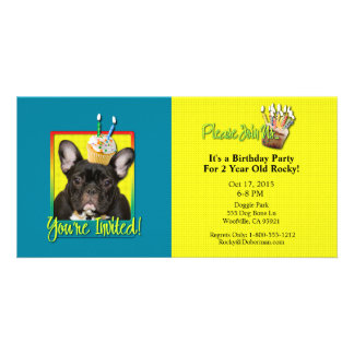 Invitation Cupcake 2 Year Old - French Bulldog Photo Card