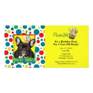 Invitation Cupcake 2 Year Old - French Bulldog Personalized Photo Card