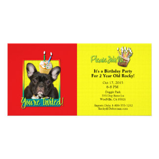 Invitation Cupcake 2 Year Old - French Bulldog Picture Card