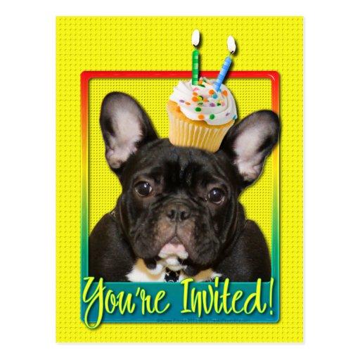 Invitation Cupcake 2 Year Old - French Bulldog Postcards