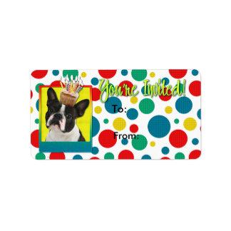 Invitation Cupcake - Boston Terrier Address Label