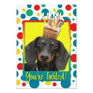 "Invitation Cupcake - Dachshund - Winston 5"" X 7"" Invitation Card"