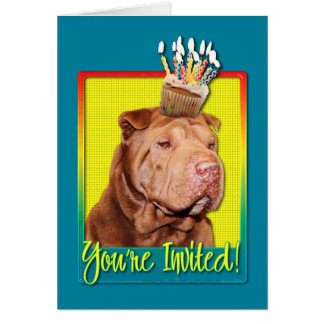 Invitation Cupcake - Shar Pei - Lucky