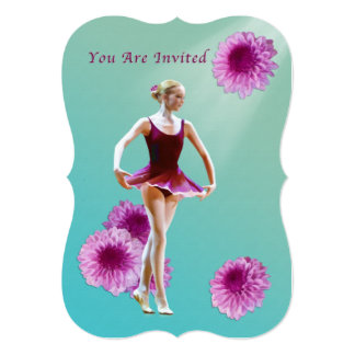 Invitation, Dance Recital, Ballerina, Pink Mums 13 Cm X 18 Cm Invitation Card