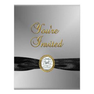 Invitation Diamond Jewel Black Silver Grey Gold Personalized Invites