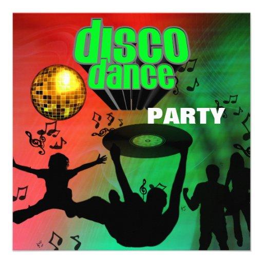 Invitation Disco Dance Party Retro Custom Announcements