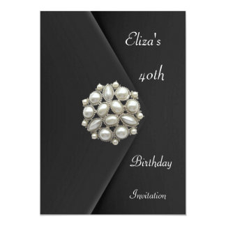 Invitation Elegant 40th Black Velvet Pearl Jewel