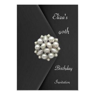 Invitation Elegant 40th Black Velvet Pearl Jewel Personalized Invitations