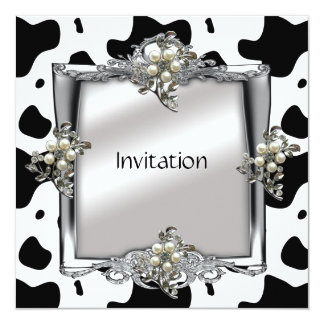 Invitation Elegant Animal Cow Silver Jewel Flora
