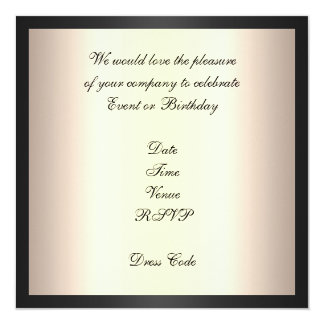 "Invitation Elegant Birthday Cream Black Gold Trim 5.25"" Square Invitation Card"
