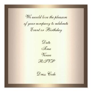 "Invitation Elegant Birthday Cream Coffee Gold Trim 5.25"" Square Invitation Card"