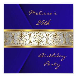Invitation Elegant Blue Velvet gold Trim 25th