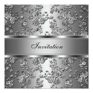 Invitation Elegant Classy Silver Embossed Floral