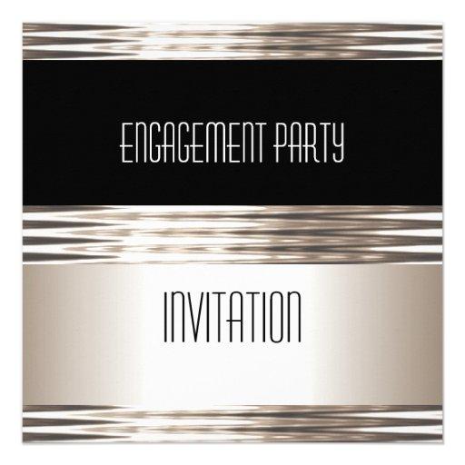 Invitation Engagement Party Art Deco Cream Black Invitation
